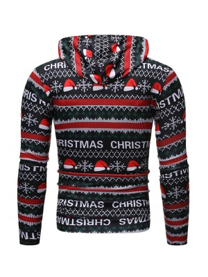 Energetic Christmas Cap Print Hoodie Plus Size Casual Clothes