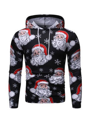 Simply Chic Santa Claus Pattern Hoodie Queen Size Elegance
