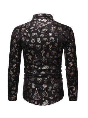 Form-Fitting Black Christmas Male Shirt Button Front Fashion Sale