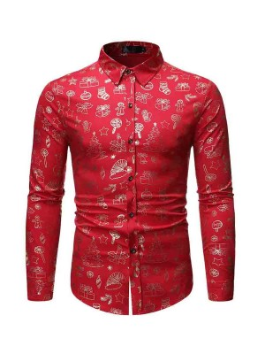 Glorious Red Full-Sleeved Lapel Neck Mens Shirt Casual Wear