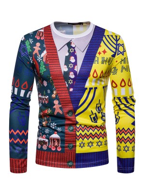 Romans Contrast Color Xmas Top Long-Sleeved Street Style