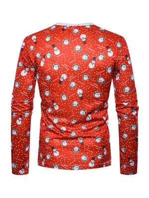 Poolside Snowmen Pattern Xmas Full Sleeve Top Casual Clothes Online