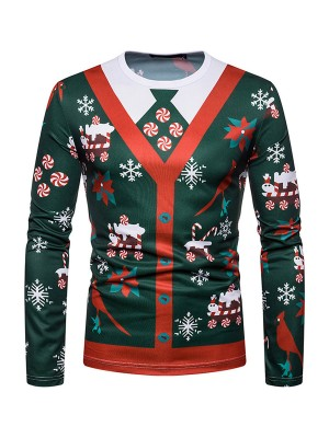 National Round Neck Men Xmas Shirt Full Sleeves Outfit