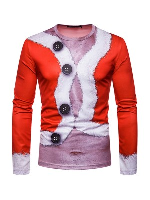 Surprising 3D Patchwork Male Shirt Long-Sleeved Cheap Online
