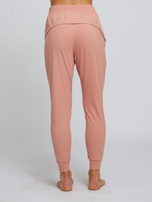 Elegance Light Pink Ankle Length High Waist Sport Pants Vacation Time
