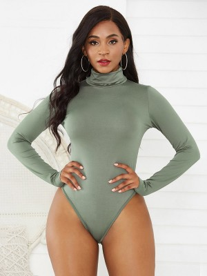 Modest Green Long Sleeve High Cut Bodysuit Ultimate Comfort