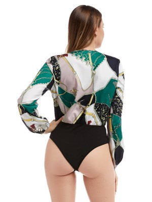 Dainty Long Sleeve Patchwork V Neck Bodysuit Elasticity