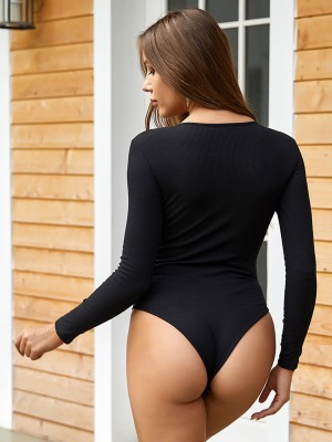 Cheeky Black Round Neck Bodysuit Long Sleeves Simple
