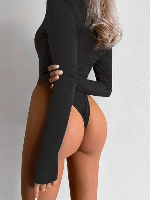 Black High Cut Long Sleeve Bodysuit Round Neck Soft-Touch