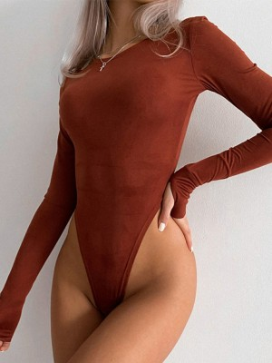 Brown Plain Long Sleeve Bodysuit With Thumbhole For Women