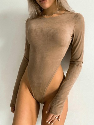 Light Tan Crotch Button Thumbhole High Cut Bodysuit Womens Fashion