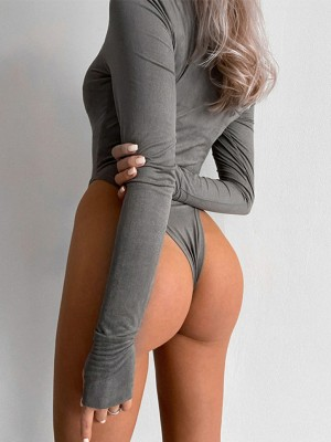 Gray High Waist Full Sleeve Thumbhole Bodysuit Womens Clothes