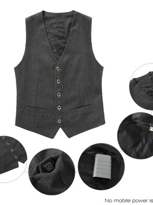 Gray Men Suit USB Heated Vest With Button Svelte Style