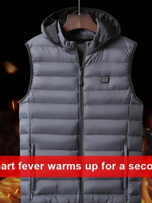 Gray Electric Heat Vest Temperature Adjustment Classic Fashion