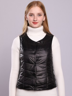 Black Female Electric Heated Vest Side Pockets Online Shopping