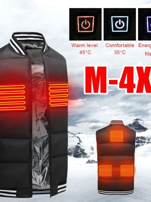 Black Heating Vest With USB Charging Stripe Fashion Style