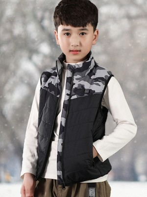Gray Patchwork Heating Vest With Zipper For Child Regular Fit