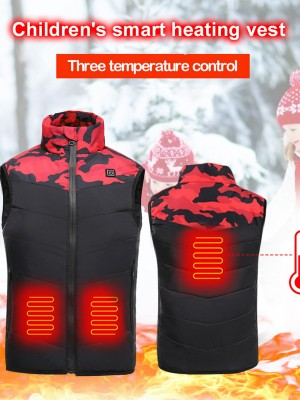 Red Heating Vest Camo Pattern Stand-Up Collar Casual Comfort