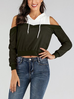 Interesting Army Green Fake Two Pieces Hooded Collar Rib For Beauty