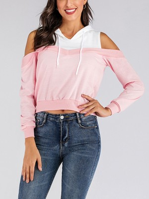 Geometrical Pink Cold Shoulder Sweatshirt Hooded Neck Comfortable