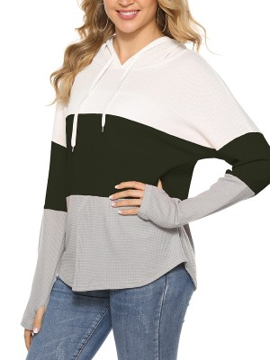 Modest Army Green Hooded Neck Sweatshirt Patchwork Drawstring For Sexy Women