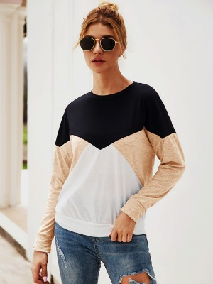 Young Lady Khaki Knit Swetashirt Patchwork Crew Neck Casual Comfort
