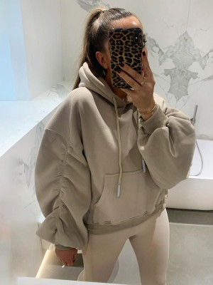 Khaki Long Sleeve Drop Shoulder Ruched Hoodie Women's Essentials