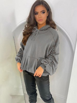 Gray Drawstring Pile Up Sleeves Loose Sweatshirt Natural Outfit