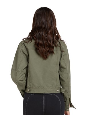 Supper Fashion Army Green Long Sleeve Denim Jacket Button For Hiking
