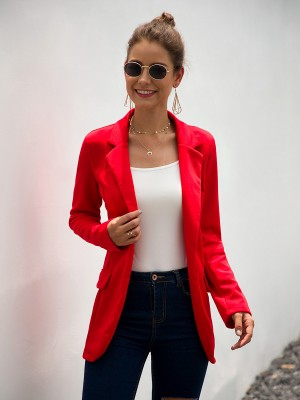 Ladies Red Formal Jacket Open Front Sold Color Womens Fashion Online