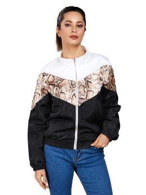 Shimmer Black Patchwork Zipper Jacket With Pockets Leisure Fashion