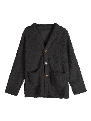 Voluptuous Black Long Sleeve Single Breasted Coat Cool Fashion
