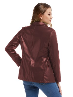 Endearing Wine Red Double-Breasted Jacket PU Long Sleeve Ultra Sexy