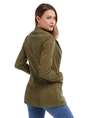 Feminine Green Corduroy Turn-down Neck Jacket Pockets Clothes Wholesale