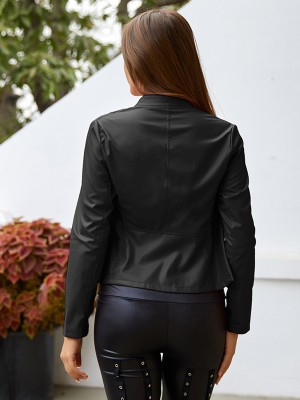 Refreshing Black PU Jacket Zip Full Sleeve Stand Neck Women