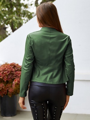 Professional Green Stand Neck PU Jacket Long Sleeves Female Grace