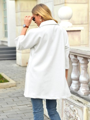 White Single-Breasted Coat With Side Pocket Women's Clothing