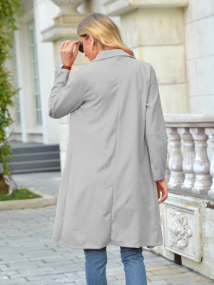 Gray Coat Pockets Solid Color Button Front Free Time