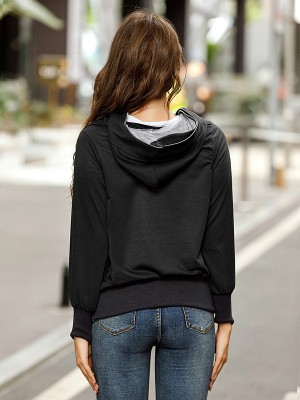 Black Tiered Hooded Collar Coat Full Sleeve Women Fashion