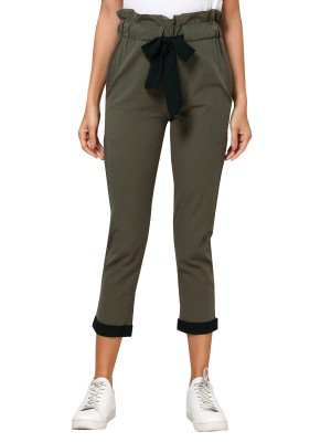 Pretty Army Green Ruched High Rise Capri Pants Tie Women's Fashion