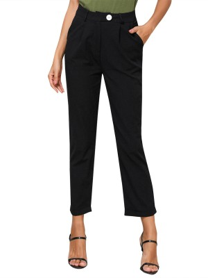 Dreamy Black Straight-Leg Pants Pocket Button For Strolling
