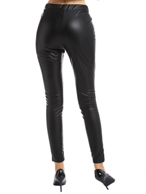 Favorite Black High Rise Leather Pants Full Length Weekend Time