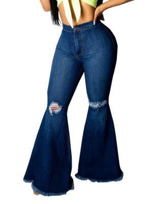 Versatile Blue Ripped Hole Denim Pants Bell Bottom Comfort Fit