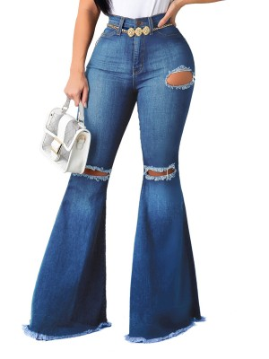 Svelte Style Blue Bell Bottom Pocket High Waist Jeans Stretchy