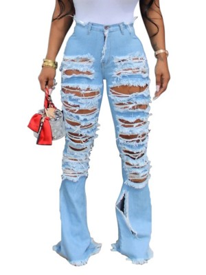 Unforgettable Light Blue Flare Destroyed High Rise Denim Pants
