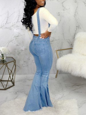 Catching Light Blue Suspender Bell-Bottom Jeans Ripped Ladies
