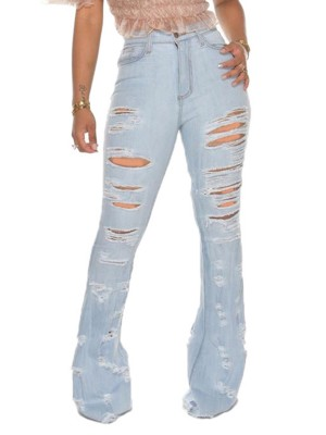Entrancing Light Blue Pockets Ripped Flare Jeans High Rise