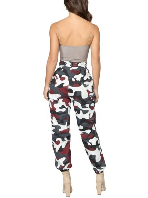 Invigorative High Waist Jogger Cargo Camo Pants Regular Fit