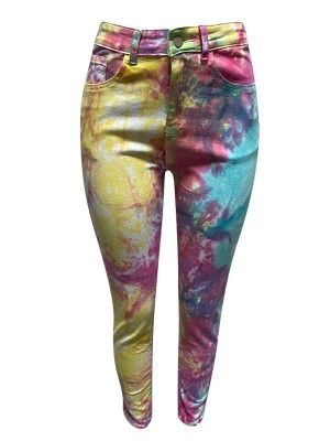 Curve Smoothing High Waist Graffiti Pattern Jeans For Camping