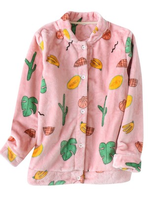 Exceptional Beige Long Sleeve Sleepwear Top Fruit Pattern Ladies